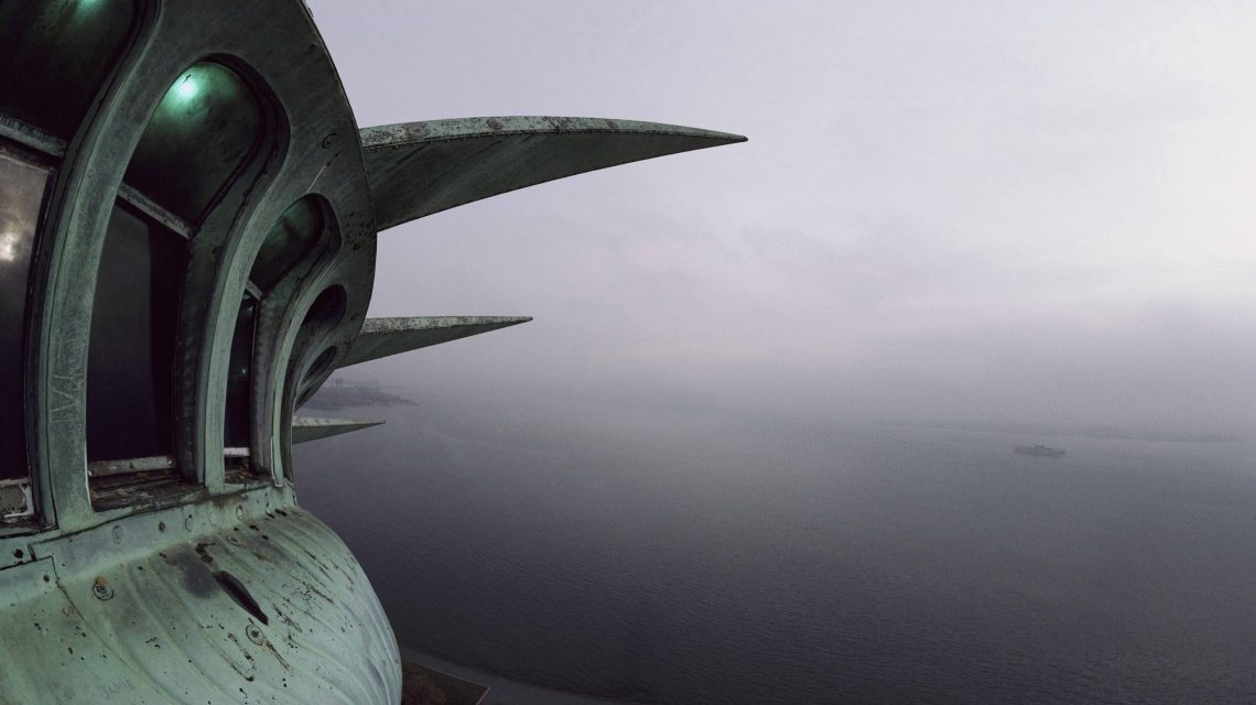 View of New York Harbor from the top of the Statue of Liberty.